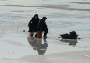 Ice fishing on the St. Lawrence