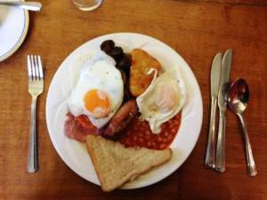 The Full English (heart-attack) breakfast at Sidney Sussex; not every day, but in moderation!
