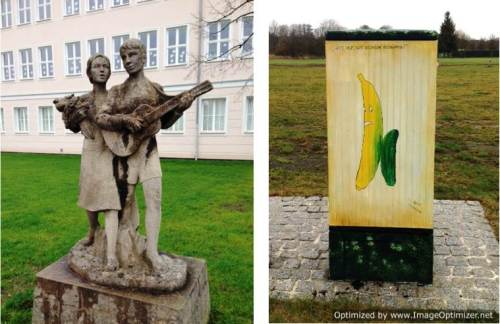 Scenes from the former East Germany: sculpture of diligent students, and a bit of street art, figure and words playing on the fact that it was impossible to get bananas during the Soviet era