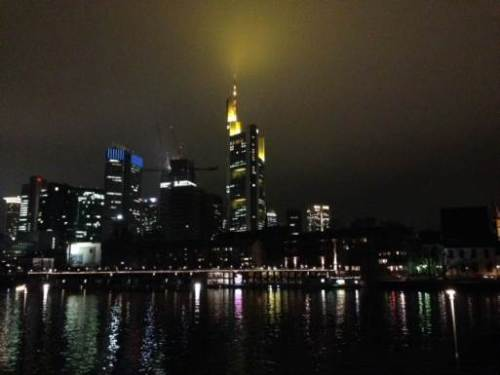 Frankfurt's highrise skyline, more of the New World than the old