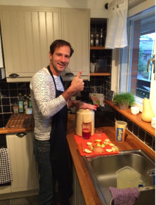 Airbnb host Carlos at the juicer